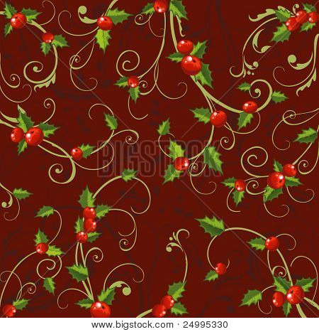 Christmas background with holly berries