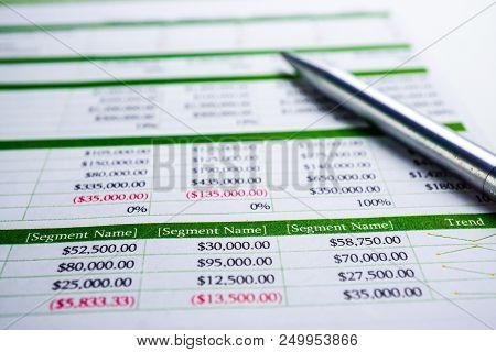 Spreadsheet Table Paper With Pencil. Finance Development, Banking Account, Statistics Investment Ana