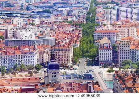 Aerial View Of Lyon Cityscape With Famous Hotel Dieu, France