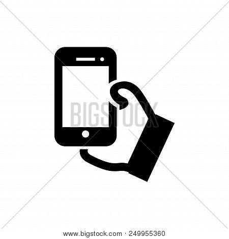Hand Holding Phone Vector Icon Flat Style Illustration For Web, Mobile, Logo, Application And Graphi