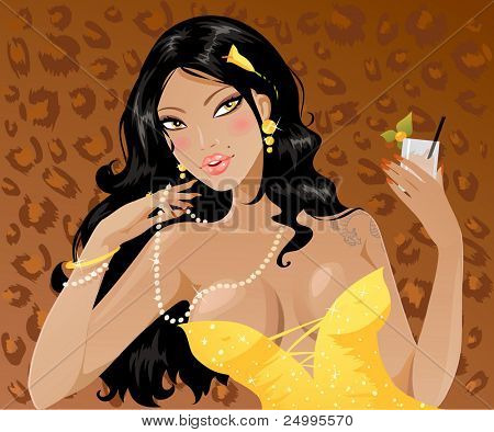 Beautiful sexy lady having a cocktail