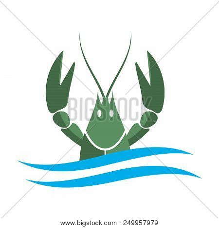 Crayfish logo. Green river lobster, langoustine or crustacean delicacies isolated on white background. Seafood design. Vector illustration poster