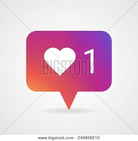 Counter Notification Icon Instagram. Follower icon. Like 1 insta symbol, button. Social media like insta ui, app, iphone. Vector illustration EPS 10