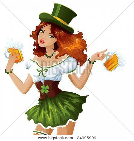 St. Patrick's Day waitress