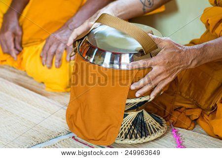 close up Buddhist merit. monk s alms bowl poster
