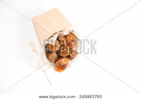 Savory And Fresh Chestnuts With Tasty Sweet Chilli Sauce On Bright White Background Of Studio