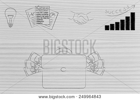 Business Results Analysis Conceptual Illustration: Idea To Business Plan To Investment Deals And Gro