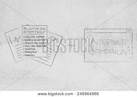 Establishing A Successful Business Conceptual Illustration: Business Strategy Documents Plus Interne