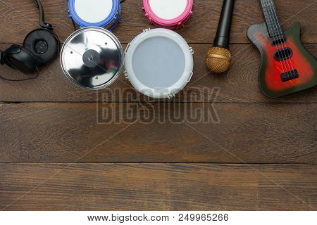Table Top View Aerial Image Of Instrument Music Kids Background Concept.flat Lay Of Objects For Deve