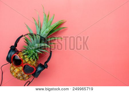 Table Top View Aerial Image Of Food For Summer Holiday Season & Music Background Concept.flat Lay Ob