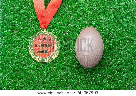 Table Top View Aerial Image Soccer Or Football Season Background.flat Lay Accessories Gold Medal & A