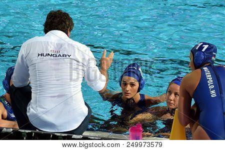Budapest, Hungary - Jul 20, 2017. The Hungarian Women Waterpolo Team (szilagyi Dorottya,  Csabai Dor