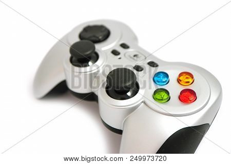 A Wireless Video Game Controller, Joystick, Isolated On White Background.