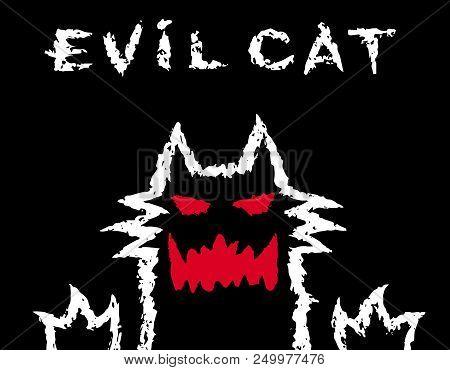 Evil Cat Dark Silhouette. Scary Animal Character. The Horror Genre. Vector Illustration.