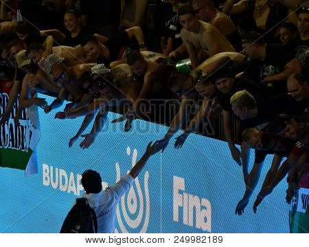Budapest, Hungary - Jul 20, 2017. Fans Welcoming Biro Attila Coach Ofthe Hungarian Women Waterpolo T