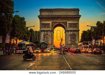 Paris, France - July 2, 2017: Square At Champs Elysees Street And Center Of Place Charles De Gaulle