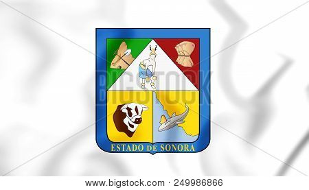 3d Flag Of Sonora, Mexico. 3d Illustration.