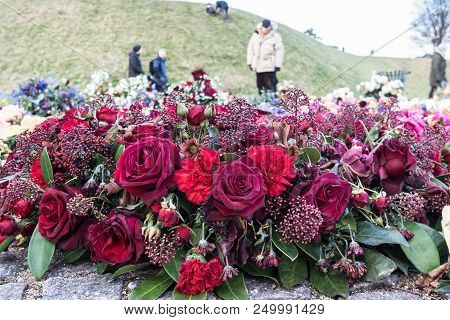 Flowers At Danish National Monument Of Remembrance After The Funeral Of His Royal Highness Prince He