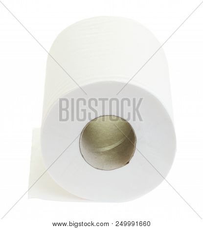 Single Scroll Of Toilet Paper Isolated On White Background