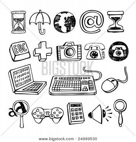 Doodle Vector Computer Symbols.