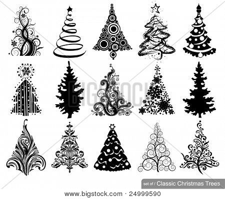 Set of Classic Christmas Trees. 15 designs in one file. To see similar sets visit my gallery
