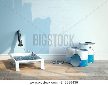 Paint Cans And Paint Roller Brush Near Light Blue Walls, 2 Cans Are Opened, 1 Is Closed, 3d Renderin