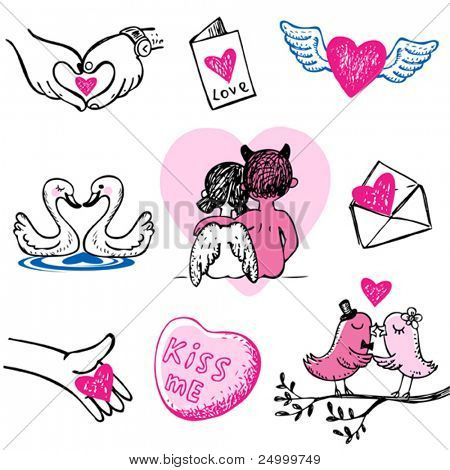 Set of nine Valentine vector icons, hand drawn style.