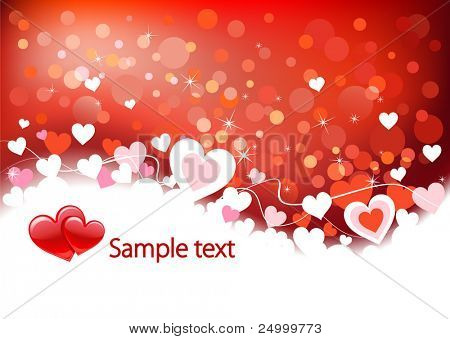 Valentines background with hearts, place for text