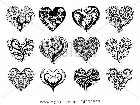 Set of 12 tattoo hearts, vector image.