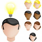 Vector - People Heads with Creativity Light Bulb poster