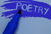 Writing note showing Poetry. Business photo showcasing Literary work Expression of feelings ideas with rhythm Poems writing Bold blue marker colouring sketch work type idea text plain background poster