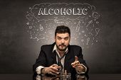 Loser drunk man with drinking, drug, hangover, alcoholic drugs concept poster