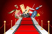 illustration of film stripe laying as red carpet with entertainment object poster