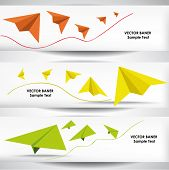Set of the 600x160 paper plane banners. poster