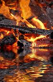 Abstract of a wood fire with reflection over water. poster