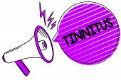 Conceptual hand writing showing Tinnitus. Business photo showcasing A ringing or music and similar sensation of sound in ears Megaphone loudspeaker scream idea talk grunge speech bubble poster