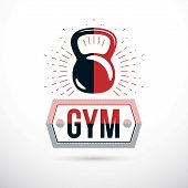 Logotype for heavyweight gym or fitness sport gymnasium, vector illustration of kettle bell. Gym lettering. poster
