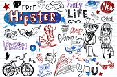 Hipsters doodle set poster