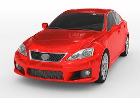 Car Isolated On White - Red Paint, Tinted Glass - Front-left Side View - 3d Rendering