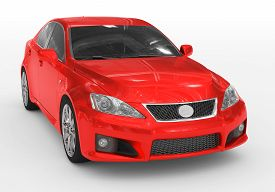 Car Isolated On White - Red Paint, Tinted Glass - Front-right Side View - 3d Rendering