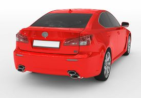 Car Isolated On White - Red Paint, Tinted Glass - Back-right Side View - 3d Rendering