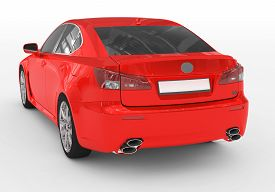 Car Isolated On White - Red Paint, Tinted Glass - Back-left Side View - 3d Rendering