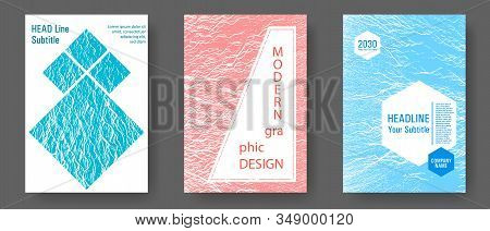 Annual Report Covers Design Set. Blue, Teal And Coral Color Waves Texture. Research Development Plan