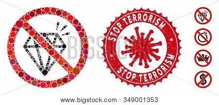Mosaic No Brilliant Icon And Red Round Distressed Stamp Seal With Stop Terrorism Caption And Coronav