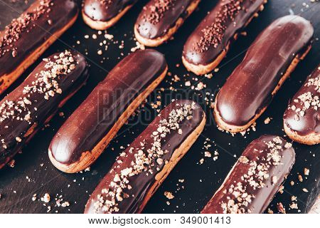 Traditional French Eclairs With Chocolate. Tasty Dessert. Home Made Cake Eclairs. Sweet. Dessert. Pa