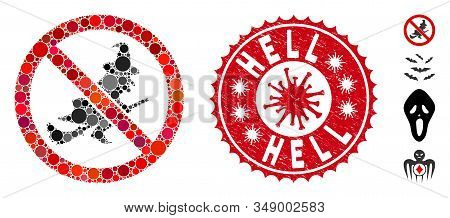 Mosaic No Witch Flights Icon And Red Round Distressed Stamp Seal With Hell Caption And Coronavirus S