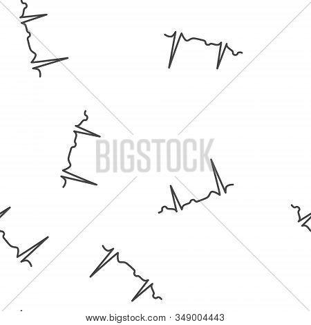 Electrocardiogram Vector Icon, Sinus Rhythm Disturbance Seamless Pattern On A White Background.