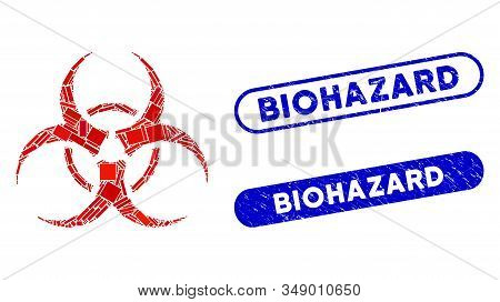 Mosaic Biohazard Symbol And Rubber Stamp Seals With Biohazard Phrase. Mosaic Vector Biohazard Symbol