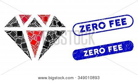Mosaic Diamond And Grunge Stamp Watermarks With Zero Fee Phrase. Mosaic Vector Diamond Is Formed Wit