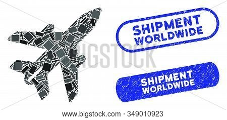 Mosaic Airplane And Grunge Stamp Seals With Shipment Worldwide Phrase. Mosaic Vector Airplane Is Cre